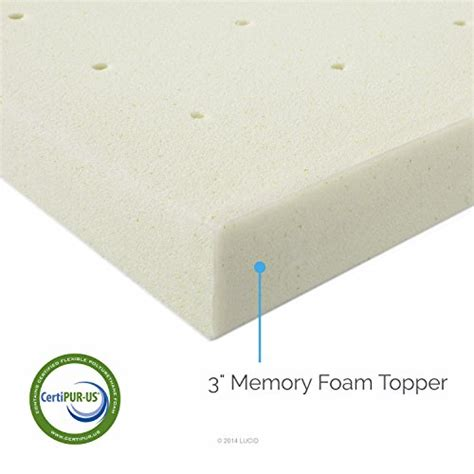 3 Inch Memory Foam Topper Lucid 3 Inch Memory Foam Mattress Topper 3 Year Warranty Basic Rv