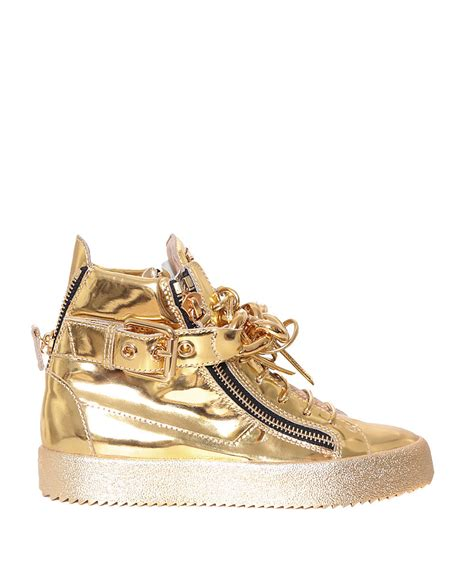 gold giuseppe sneakers giuseppe zanotti laminated leather sneakers with chain in