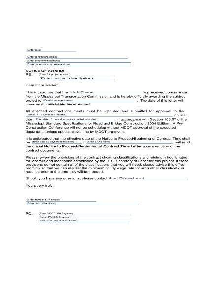 awarding contract letter templates premium