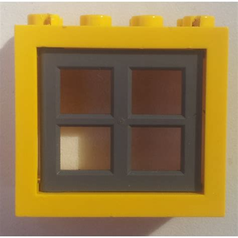 Lego Part Yellow Window 1 X 2 X 3 Pane With Thick Corner Tabs lego window 2 x 4 x 3 assembly with rounded holes 4132 brick owl lego marketplace