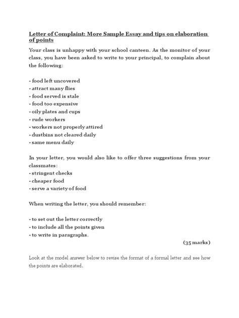 Formal Letter Complaint About School Canteen Letter Of Complaint