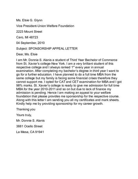 Sponsorship Appeal Letter sponsorship appeal letter sle free