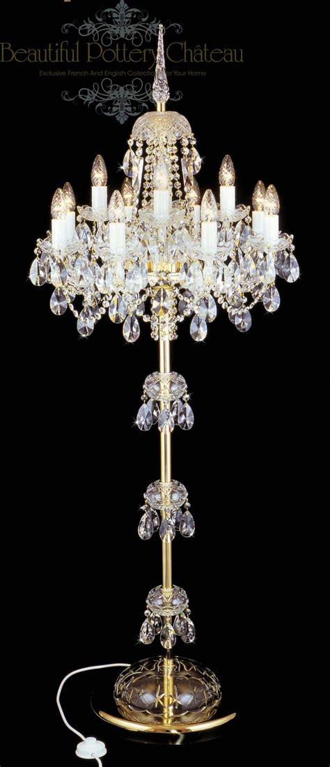 Standing Chandelier Beautiful Pottery Bohemian Crystals Standing Chandelier
