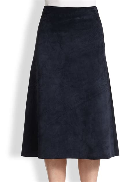 theory janheem suede a line skirt in blue lyst