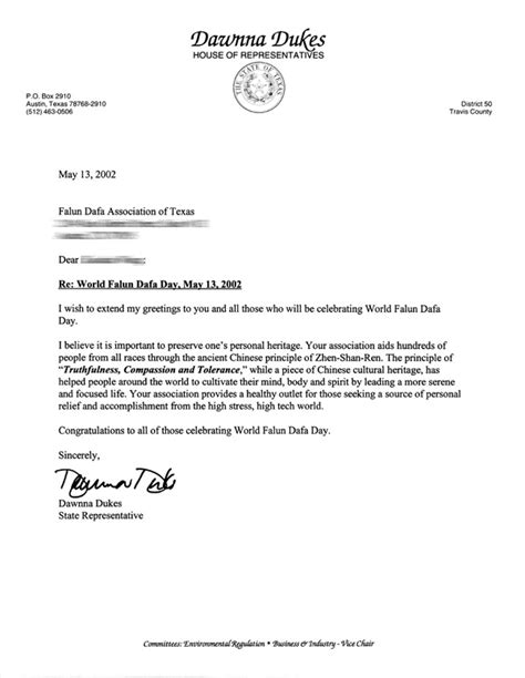 Introduction Letter Representative Congratulatory Letter From State Representative To Falun Dafa Association For Celebrating