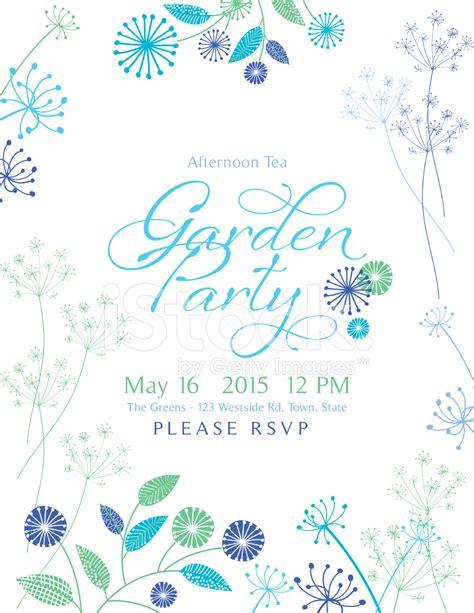 wild flower design garden party invitation stock photos