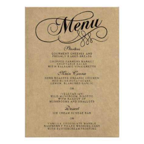 wedding menu template free wedding menu cards zazzle