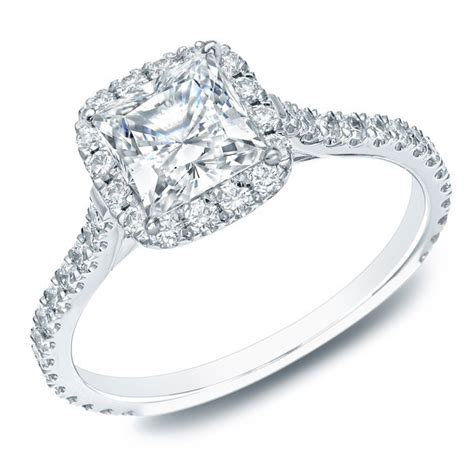 certified 1 carat princess halo engagement