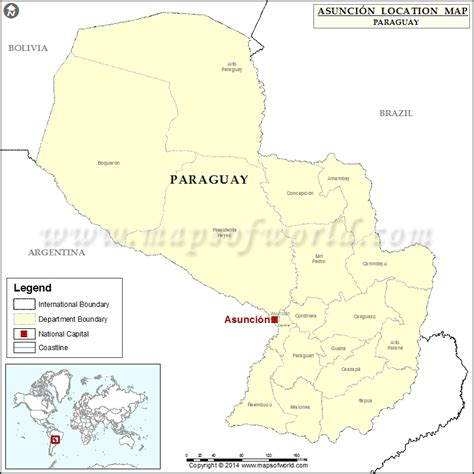 paraguay world map where is asuncion location of asuncion in paraguay map
