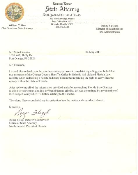 Release Letter National Code Florida Carry Request For Special Prosecutor In Gun Owner Info Release