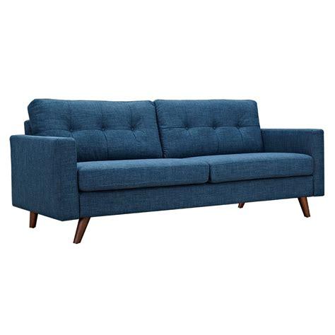 Uma Mid Century Modern Blue Fabric Button Tufted Sofa W Button Tufted Sofa