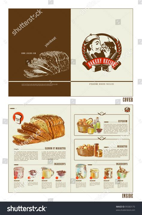 recipe layout template royalty free bakery recipe booklet design template