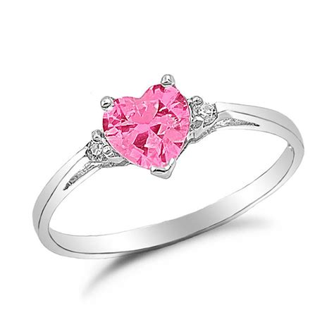 pink ring sterling silver shaped simulated pink sapphire