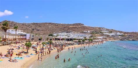 visiting paradise beach  mykonos greece   beach party