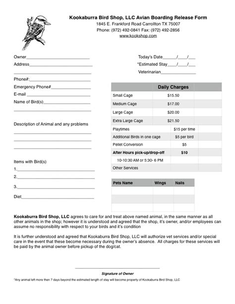 Pet Boarding Agreement Template Form Dog Forms Templates Free Sl On Dog Breeding Contract Boarding Form Template