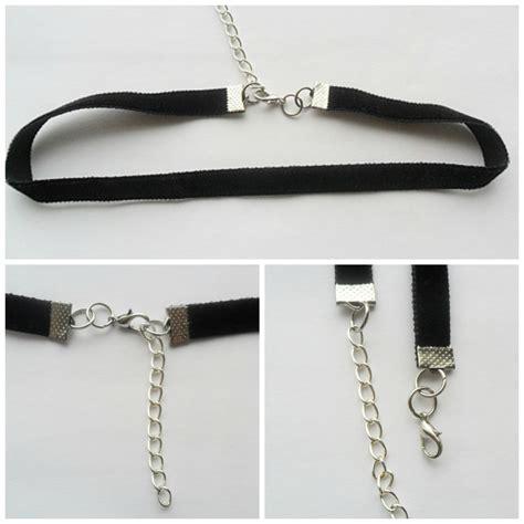 velvet choker necklace black ribbon adjustable size with