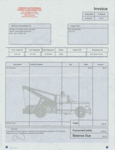 towing service invoice pdf free invoice