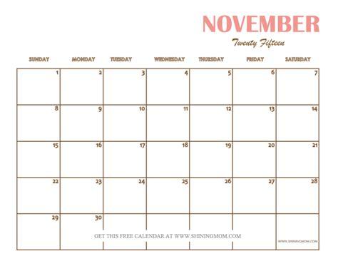 Blank Calendars For 2015 November 2015 Calendars