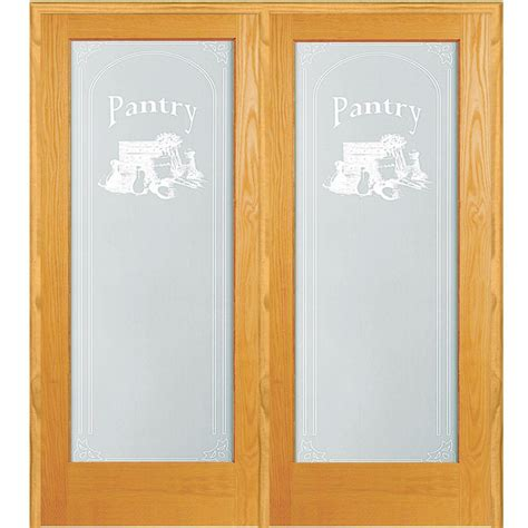Prehung Glass Pantry Door by 62 In X 81 75 In Pantry Decorative Glass 1 Lite Unfinished Pine Wood Interior