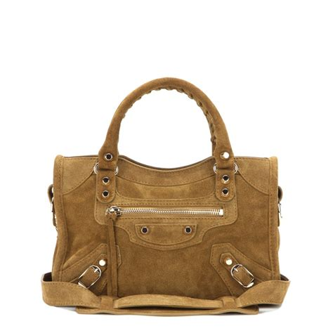 And Balenciaga Bag by Balenciaga Classic Mini City Suede Shoulder Bag In Brown