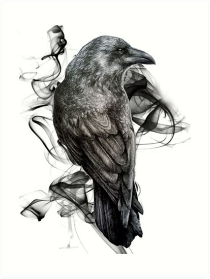 quot crow gothic bird raven realism drawing sketch tattoo quot art