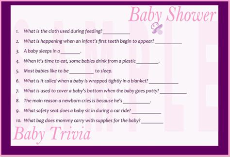 Baby Shower Trivia Printable by Baby Shower Baby Trivia Printable By Favorsnsuch On Etsy