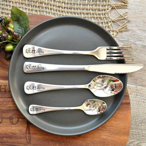 engraved cutlery set personalised stainless steel adults cutlery sets 16