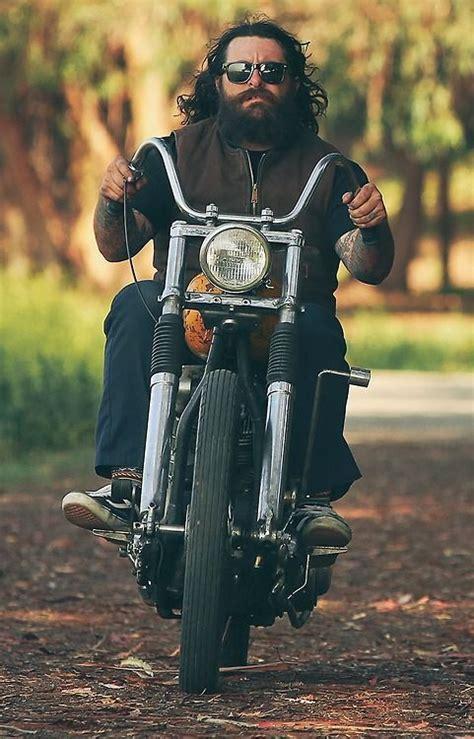 long hairstyles for a biker man beard on motorcycle full thick dark beards bearded man men