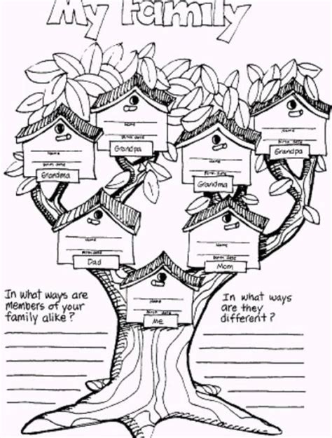 Family Tree Coloring Page Free Pages On Art