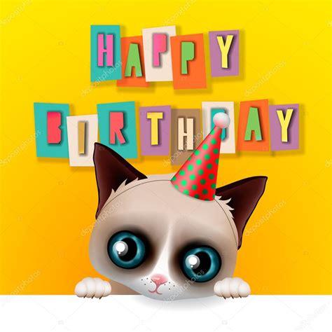 imagenes de happy birthday con gatos tarjeta de feliz cumplea 241 os lindo divertido gato gru 241 243 n