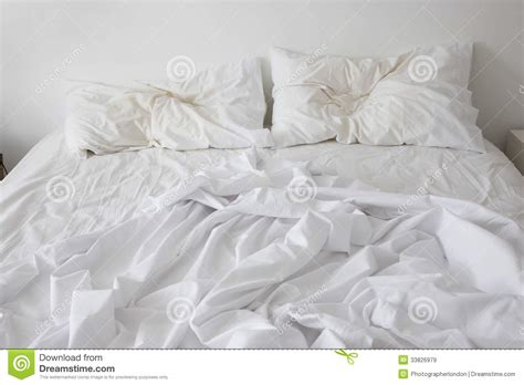 Comforter With Birds Unmade Bed Royalty Free Stock Images Image 33826979
