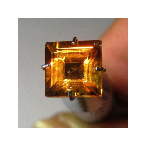 Cetak Rock Photo Kotak Batu Permata Citrine Kotak 1 77 Carat Warna Oranye