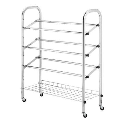 rolling shoe storage whitmor deluxe rack collection 24 75 in x 31 13 in