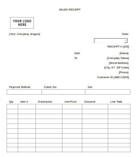 sales receipt template with measurements sales receipt template 10 free word pdf documents