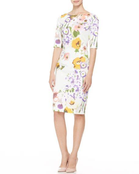 Sleeve Floral Sheath Dress half sleeve floral sheath dress