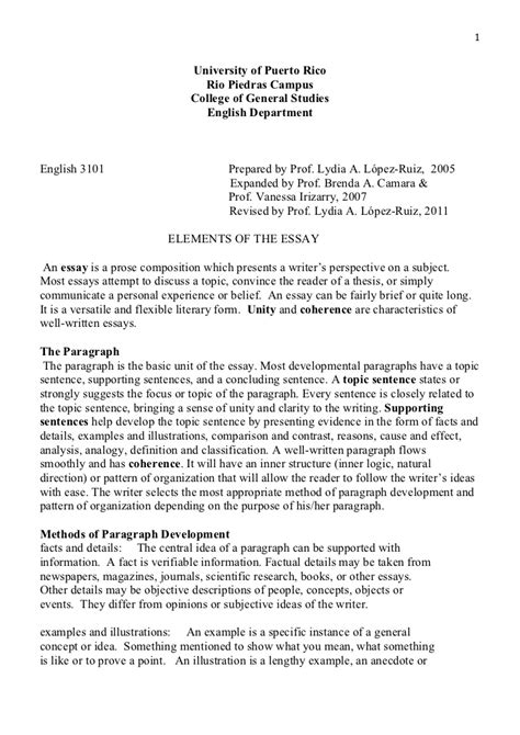 Show Me An Exle Of An Essay by Elements Essay 3101 11