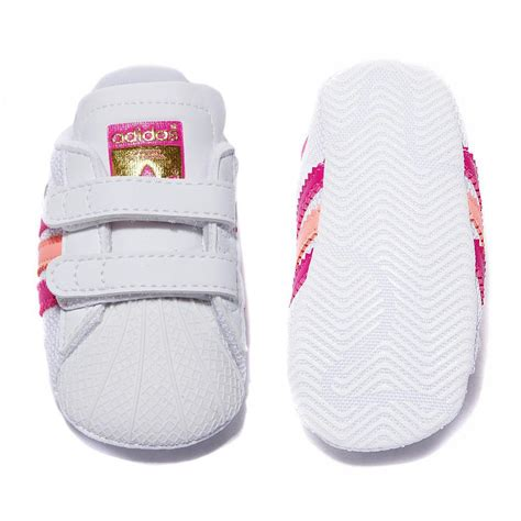 new adidas originals superstar shelltoe baby white pink crib shoe size 1 3 ebay