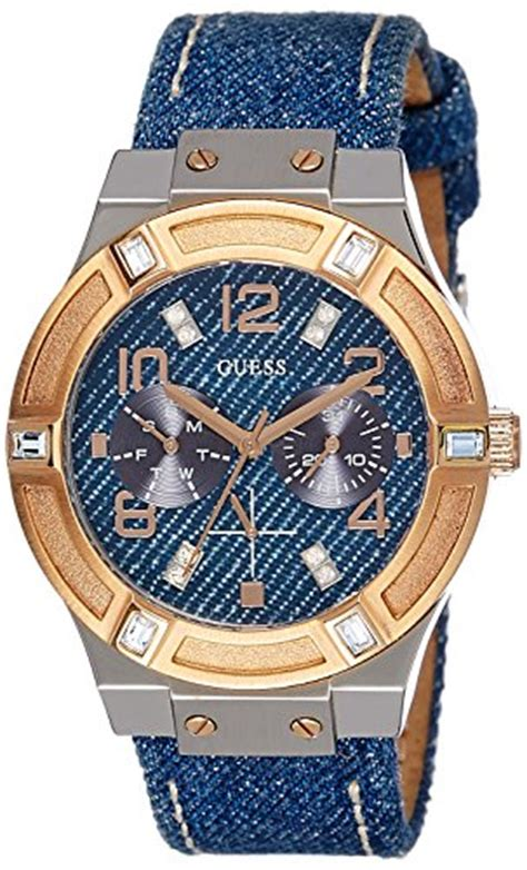 Guess W0289l1 Silver Rosegold Blue guess s w0289l1 iconic blue denim multi function