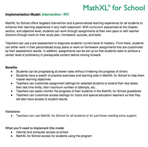 Mat Xl For School by Implementation Mathxl For School