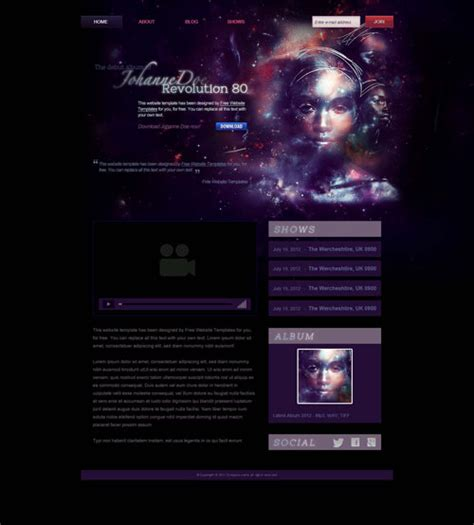Music Artist Website Template Free Website Templates Illustrator Website Template