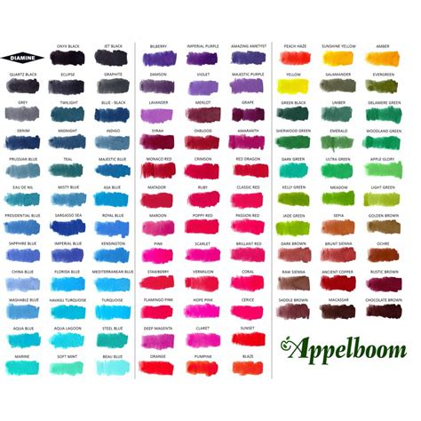 ink colors diamine ink 30ml ink bottle 101 colors appelboom