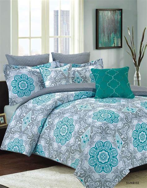 Teal Bedding Sets King Crest Home King Size Bedding Comforter 7 Pc Bed Set Teal Blue And Gray Medallion