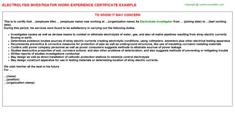 Child Support Investigator Cover Letter by Child Support Investigator Work Experience Certificates Sles