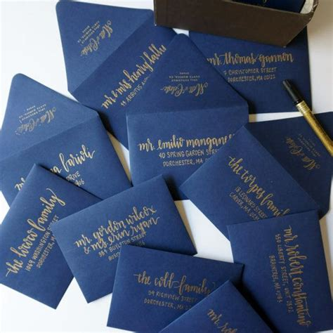 navy blue and gold wedding placecards calligraphy font 25 best ideas about handwritten wedding invitations on