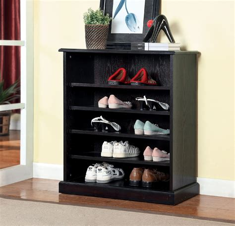 5 Shelf Shoe Rack by Furniture Of America Monrovian 5 Shelf Espresso Shoe Rack