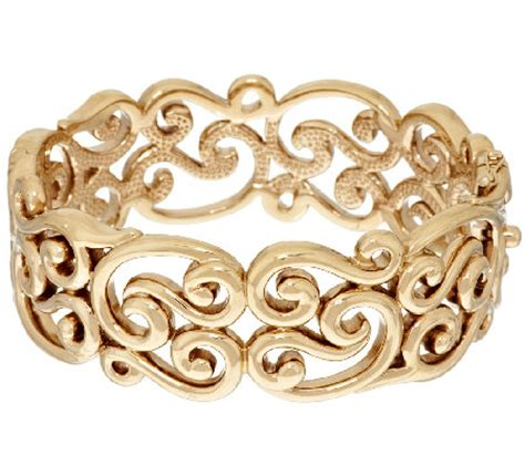 New Look Scroll Bangle 14k gold small polished scroll design bold bangle qvc