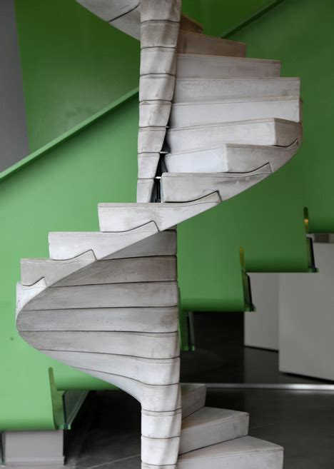 Precast Concrete Stairs Design Helix Staircase By Matter Design Each Concrete Tread Modual Is Slotted Into The Next Below