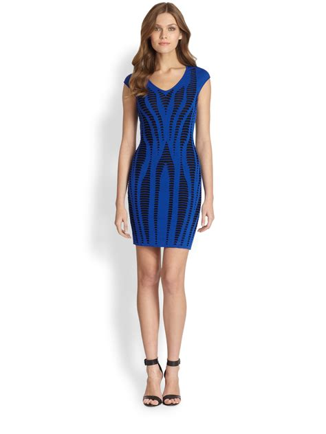 Cutout Sheath Knit Dress rvn cutout knitted sheath dress in blue blue black lyst