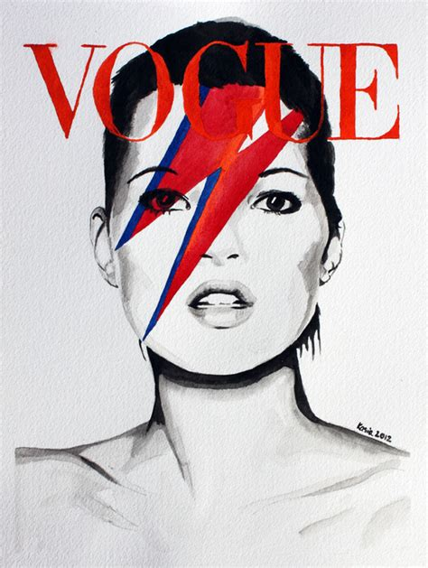 fashion illustration vogue covers vogue magazine cover kate moss as david bowie fashion illustration print by feeling artsy