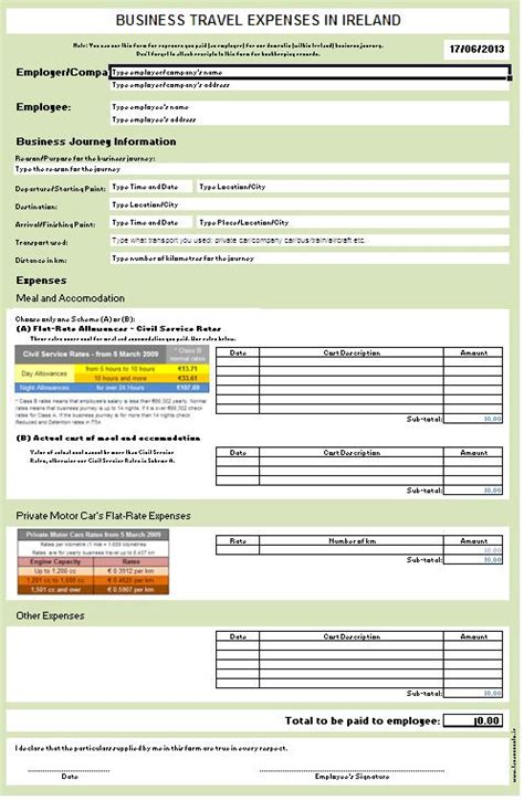 Credit Application Form Template Ireland Ireland Business Travel Expenses Form Screenshot Accountant S Notes